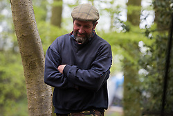 Wendover, UK. 9th May, 2021. Environmental campaigner Mark Keir is pictured at an event for local residents in Jones Hill Wood billed as an 'Accolade To The Ancients' in tribute to the ancient woodland there which is being felled for the HS2 high-speed rail link. The event featured a reading of an adaptation of Roald Dahl's Fantastic Mr Fox, which it is said he was inspired to write by Jones Hill Wood, as well as poems, speeches and face painting.