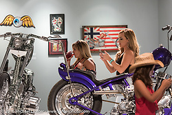 Industry party night for Michael Lichter's tattoo themed Skin & Bones Motorcycles as Art exhibition at the Buffalo Chip during the annual Sturgis Black Hills Motorcycle Rally.  SD, USA.  August 7, 2016.  Photography ©2016 Michael Lichter.