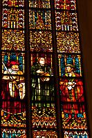 Stained glass window featuring Johann Sebastian Bach's, St. Thomas Church (Thomaskirche), Leipzig, Saxony, Germany