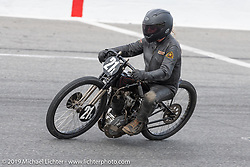 Michael Lange riding his 61 ci board track style motorcycle racer in the Sons of Speed Vintage Motorcycle Races at New Smyrina Speedway. New Smyrna Beach, USA. Saturday, March 9, 2019. Photography ©2019 Michael Lichter.