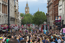 Portland Place, London, June 25th 2016. Thousands of LGBT people and their supporters gather for Pride in London, a colourful celebration of the hard-won rights of lesbian, gay, bisexual and transgender  people.