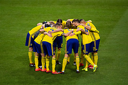 March 23, 2019 - Stockholm, SWEDEN - 190323 Players of Sweden gather ahead of the UEFA Euro Qualifier football match between Sweden and Romania on March 23, 2019 in Stockholm  (Credit Image: © Simon HastegÃ…Rd/Bildbyran via ZUMA Press)