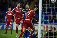 George Friend (3) of Middlesbrough scores an own goal to put Cardiff city 1-0 up. Skybet football league championship match, Cardiff city v Middlesbrough at the Cardiff city Stadium in Cardiff, South Wales  on Tuesday 20th October 2015.<br /> pic by  Andrew Orchard, Andrew Orchard sports photography.