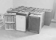 Books in library boxes ready for distribution, Finland, 1920s - 1930s