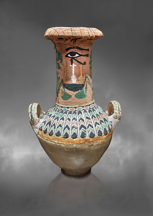 Ancient Egyptian  decorated jar sealed with linen , tomb of Kha, Theban Tomb 8 , mid-18th dynasty (1550 to 1292 BC), Turin Egyptian Museum. Grey background. <br /> <br /> TT8 or Theban Tomb 8 was the tomb of Kha, the overseer of works from Deir el-Medina in the mid-18th dynasty[2] and his wife, Merit. TT8 was one of the greatest archaeological discoveries of ancient Egypt, one of few tombs of nobility to survive intact. .<br /> <br /> If you prefer to buy from our ALAMY PHOTO LIBRARY  Collection visit : https://www.alamy.com/portfolio/paul-williams-funkystock/ancient-egyptian-art-artefacts.html  . Type -   Turin   - into the LOWER SEARCH WITHIN GALLERY box. Refine search by adding background colour, subject etc<br /> <br /> Visit our ANCIENT WORLD PHOTO COLLECTIONS for more photos to download or buy as wall art prints https://funkystock.photoshelter.com/gallery-collection/Ancient-World-Art-Antiquities-Historic-Sites-Pictures-Images-of/C00006u26yqSkDOM