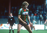 Jeffrey Russell, footballer, Glentoran FC, Belfast, N Ireland, 19850804JR1.<br /> <br /> Copyright Image from Victor Patterson, Belfast, UK<br /> <br /> t: +44 28 9066 1296 (from Rep of Ireland 048 9066 1296)<br /> m: +44 7802 353836<br /> e: victorpattersonbelfast@gmail.com<br /> <br /> www.images4media.com<br /> <br /> Please see my full Terms and Conditions of Use at https://www.images4media.com/p/terms-conditions - it is IMPORTANT that you familiarise yourself with them.<br /> <br /> Images used online incur an additional cost. This cost should be agreed in writing in advance. Online images must be visibly watermarked i.e. © Victor Patterson or that of the named photographer within the body of the image. The original metadata must not be deleted from images used online.<br /> <br /> This image is only available for the use of the download recipient i.e. television station, newspaper, magazine, book publisher, etc, and must not be passed on to a third party. It is also downloaded on condition that each and every usage is notified within 7 days to victorpattersonbelfast@gmail.com.<br /> <br /> The right of Victor Patterson (or the named photographer) to be identified as the author is asserted in accordance with The Copyright Designs And Patents Act (1988). All moral rights are asserted.