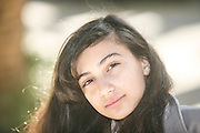 Portrait of a young 12 year old girl Photographed at Gan Hamoshava, Rishon Lezion, Israel Model release available