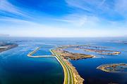 Nederland, Zeeland,  Sint Philipsland, 01-04-2016; Philipsdam gezien naar de Krammersluizen door het water van Het Krammer.<br /> <br /> QQQ<br /> <br /> luchtfoto (toeslag op standard tarieven);<br /> aerial photo (additional fee required);<br /> copyright foto/photo Siebe Swart