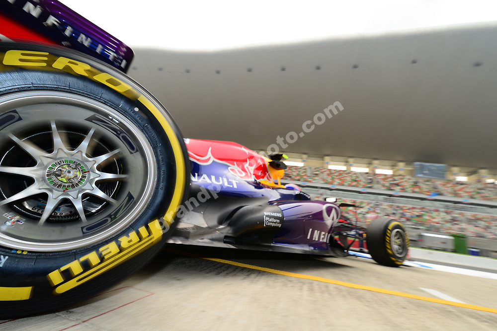 Mark Webber (Red Bull-Renault) in the pitds during practice for the 2013 Indian Grand Prix at the Buddh International Circuit outside Delhi. Photo: Grand Prix Photo