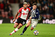 Mario Lemina of Southampton battles with Grzegorz Krychowiak of West Bromwich Albion (r) .Premier league match, Southampton v West Bromwich Albion at the St. Mary's Stadium in Southampton, Hampshire, on Saturday 21st  October 2017.<br /> pic by Bradley Collyer, Andrew Orchard sports photography.