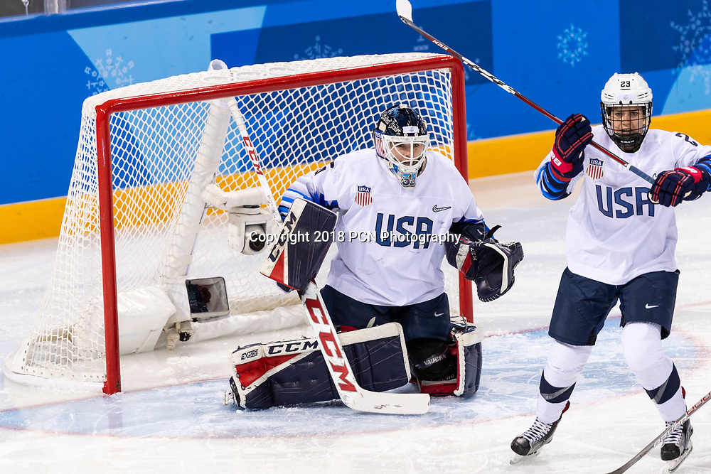 Maddie Rooney (USA) goalie during USA-FInland Women's Hockey competition at the Olympic Winter Games PyeongChang 2018
