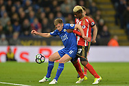 Marc Albrighton of Leicester city battles with Didier N'Dong of Sunderland (r).  Premier league match, Leicester City v Sunderland at the King Power Stadium in Leicester, Leicestershire on Tuesday 4th April 2017.<br /> pic by Bradley Collyer, Andrew Orchard sports photography.