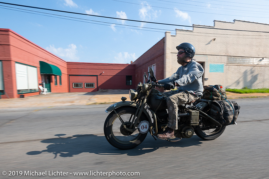 Randy Samz riding his 1942 Harley-Davidson WLA during the Cross Country Chase motorcycle endurance run from Sault Sainte Marie, MI to Key West, FL. (for vintage bikes from 1930-1948). Stage-7 covered 249 miles from Macon, GA to Tallahassee, FL USA. Thursday, September 12, 2019. Photography ©2019 Michael Lichter.