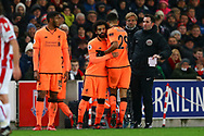 Mohamed Salah of Liverpool (c) comes on to replace Dominic Solanke of Liverpool. Premier league match, Stoke City v Liverpool at the Bet365 Stadium in Stoke on Trent, Staffs on Wednesday 29th November 2017.<br /> pic by Chris Stading, Andrew Orchard sports photography.