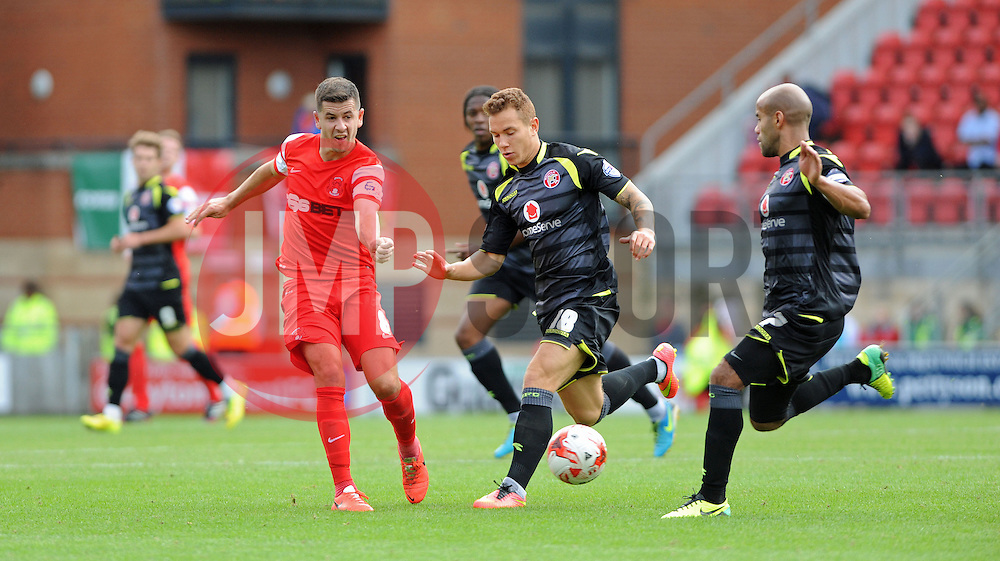 Leyton Orient's Mathieu Baudry tussles for the ball with Walsall's Kieron Morris - photo mandatory by-line David Purday JMP- Tel: Mobile 07966 386802 23/08/14 - Leyton Orient v Walsall - SPORT - FOOTBALL - Sky Bet Leauge 1 - London -  Matchroom Stadium