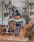In the Drawing Room', 1900. Oil on canvas. Etienne Moreau-Nelaton (1859-1927) French painter, writer and art historian. Domestic Interior Fireplace Mirror Candelabra Armchair Firescreen Rug