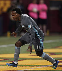 September 22, 2018 - Minneapolis, MN, USA - Minnesota United forward Romario Ibarra (11) celebrates after scoring a goal against the Portland Timbers during the first half on Saturday, Sept. 22, 2018, at TCF Bank Stadium in Minneapolis. The host Loons won, 3-2. (Credit Image: © Aaron Lavinsky/Minneapolis Star Tribune/TNS via ZUMA Wire)