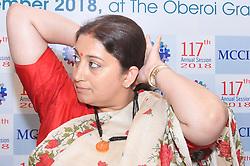 September 29, 2018 - Kolkata, West Bengal, India - Smriti Z. Irani Union Minister for Textiles at the  117th Annual Genaral  Meeting on September 29,2018 in Kolkata,India. (Credit Image: © Debajyoti Chakraborty/NurPhoto/ZUMA Press)