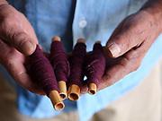 Weaver Amado Gutierrez Ruiz in the Zapotec weaving village of  Teotitlan del Valle in Oaxaca, Mexico on 29 November 2018