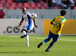 Bongani Kama of Chippa United (L) during the 1st leg of the MTN8 Semi Final between Chippa United and Mamelodi Sundowns held at the Nelson Mandela Bay Stadium in Port Elizabeth, South Africa on the 11th September 2016<br /><br />Photo by: Richard Huggard / Real Time Images