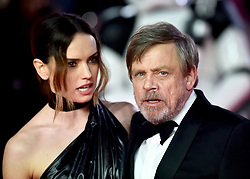 Daisy Ridley and Mark Hamill attending the european premiere of Star Wars: The Last Jedi held at The Royal Albert Hall, London.
