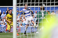 Sebastian Polter of QPR shoots to score his sides 3rd goal to make it 3-0. Skybet EFL championship match, Queens Park Rangers v Leeds United at Loftus Road Stadium in London on Sunday 7th August 2016.<br /> pic by John Patrick Fletcher, Andrew Orchard sports photography.