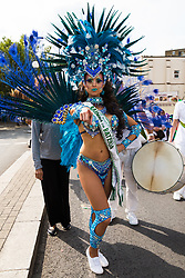 August Bank Holiday Monday means the Notting Hill Carnival comes to West London, with colourful displays by performers and the crowd. London, August 27 2018.