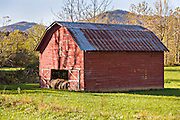 A old wooden barn along the Quilt Trails in Prices Creek, North Carolina. The quilt trails honor handmade quilt designs of the rural Appalachian region.