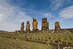 Chile, Easter Island: Statues or moai on a platform or ahu, called Ahu Tahai, near the town of Hanga Roa..Photo #: ch221-33603..Photo copyright Lee Foster www.fostertravel.com lee@fostertravel.com 510-549-2202