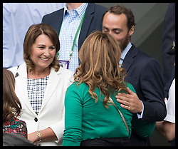 July 14, 2017 - London, London, United Kingdom - Image licensed to i-Images Picture Agency. 14/07/2017. London, United Kingdom. Carole Middleton and her son James talk to Mirka Federer  on Men's Semi-final day at the Wimbledon Tennis Championships in London.  Picture by Stephen Lock / i-Images (Credit Image: © Stephen Lock/i-Images via ZUMA Press)