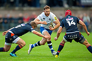 Max Wright of Bath Rugby tries to evade the tackle of James Johnstone and Jack Blain of Edinburgh Rugby during the Rugby Friendly match between Edinburgh Rugby and Bath Rugby at Meggetland Sports Complex, Edinburgh, Scotland on 17 August 2018.