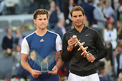 May 14, 2017 - Madrid, Spain - DOMINIC THEIM of Austria and RAFAEL NADAL OF Spain with their trophies after the final of the Mutua Madrid Open tennis tournament. (Credit Image: © Christopher Levy via ZUMA Wire)