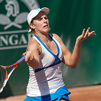Greta Arn (HUN) pictured loosing against Alize Cornet (FRA) during the Gaz de France Grand Prix international women tennis competition held at Roman Tennis Academy in Budapest. , Hungary. Saturday, 12. July 2008. ATTILA VOLGYI