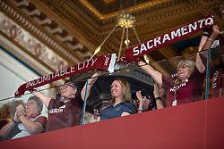 Oct 21, 2019; Sacramento, CA, USA; Fans of Sacramento Republic FC cheer during the announcement that Major League Soccer has award an expansion team to Sacramento, at The Bank. Mandatory Credit: D. Ross Cameron-USA TODAY Sports