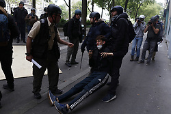 May 1, 2019 - Paris, France - A man arrested by police during clashes as part of the traditional May Day labour union march with French unions and yellow vests protesters in Paris, France, on May 1, 2019  (Credit Image: © Mehdi Taamallah/NurPhoto via ZUMA Press)