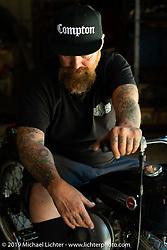 Bill Dodge in his Daytona Beach shop. FL, USA. Monday May 16, 2016.  Photography ©2016 Michael Lichter.