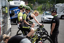 Gracie Elvin (AUS) of Mitchelton Scott Cycling Team warms up for Stage 2 of 2019 OVO Women's Tour, a 62.5 km road race starting and finishing in the Kent Cyclopark in Gravesend, United Kingdom on June 11, 2019. Photo by Balint Hamvas/velofocus.com