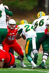 NORMAL, IL - October 05: Dylan Draka waits for a try at tackling Kobe Johnson during a college football game between the ISU (Illinois State University) Redbirds and the North Dakota State Bison on October 05 2019 at Hancock Stadium in Normal, IL. (Photo by Alan Look)