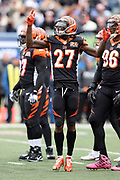Cincinnati Bengals cornerback Dre Kirkpatrick (27) jumps in the air as he waves his arms trying to fire up the fans during the 2017 NFL week 8 regular season football game against the Indianapolis Colts, Sunday, Oct. 29, 2017 in Cincinnati. The Bengals won the game 24-23. (©Paul Anthony Spinelli)