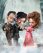 Caricature: Seductive Reasoning. Robert Downey Jr. is back as Sherlock Holmes, Jude Law as Dr. John Watson, and Rachel Anne McAdams as Irene Adler.  Photoshop for Penthouse Magazine.