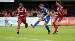 Wimbledon's Matt Tubbs shoots at goal - photo mandatory by-line David Purday JMP- Tel: Mobile 07966 386802 - 30/08/14 - Afc Wimbledon v Stevenage - SPORT - FOOTBALL - Sky Bet Leauge 2 - London - The Cherry Red Stadium