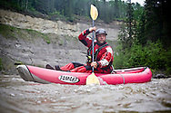 © 2008 Randy Vanderveen, all rights reserved.near Beaverlodge, Alberta.Craig Gerrard, a swift water rescue instructor, paddles his kayak on the Red Willow River as he trains Grande Prairie firefighters.