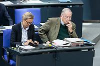 13 FEB 2020, BERLIN/GERMANY:<br /> Alice Weigel (L), MdB, AfD Fraktionsvorsitzende, und Alexander Gauland (R), MdB, AfD Fraktionsvorsitzender, Sitzung des Deutsche Bundestages, Plenum, Reichstagsgebaeude<br /> IMAGE: 20200213-01-019