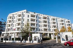 New luxury housing development at Am Schweizer Garten in gentrified district of Prenzlauer Berg in Berlin Germany