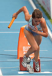Anja Puc competes as first Slovenia athlete during  the 4x400m Womens Relay Heats during day five of the 20th European Athletics Championships at the Olympic Stadium on July 31, 2010 in Barcelona, Spain.  (Photo by Vid Ponikvar / Sportida)