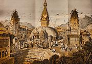 Swayambunath  Buddhist temple, Kathmandu,  History of Nepal, By Daniel Wright, Cambridge University Press, London, 1877