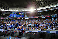Sun shining into Wembley Stadium during the 1st half. Skybet football league Championship play off final match, Hull city v Sheffield Wednesday at Wembley Stadium in London on Saturday 28th May 2016.<br /> pic by John Patrick Fletcher, Andrew Orchard sports photography.