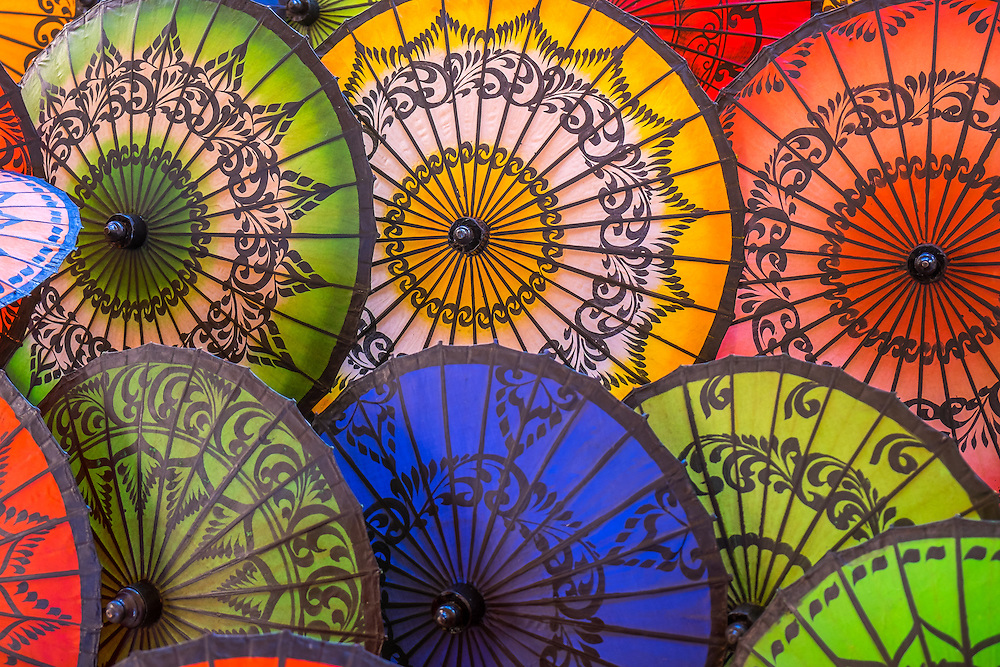 Close up view of colorful Burmese Umbrellas
