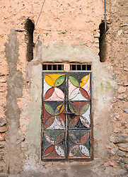 Ornate house door in  traditional old village at Misfat al Abryeen in Oman
