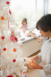 Young Boy Decorating Christmas Tree